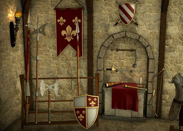 Sala de armas con todos los objetos del paladín